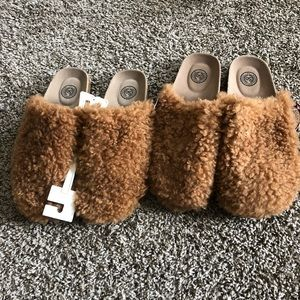 Fluffy cork clogs brown sizes 9-10 and 11.